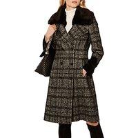 Karen Millen Wool Check Coat, Black/Multi