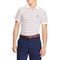 Polo Golf by Ralph Lauren Pro-Fit Stripe Polo Shirt, White/Raspberry Red/French Navy