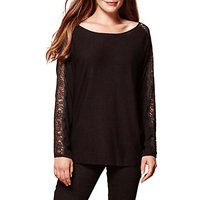 Yumi Lace Panel Sleeve Jumper, Black