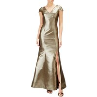 Adrianna Papell Long Jacquard Dress, Gold