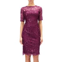 Adrianna Papell Lace Sequin Illusion Neckline Dress, Cabernet