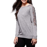 Yumi Lace Rhinestone Panel Jumper, Grey