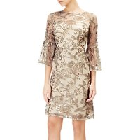 Adrianna Papell Short Embroidered Dress, Gold