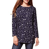 Yumi Star Print Oversized Jumper, Navy
