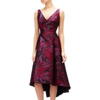 Adrianna Papell Plus Size Floral V-Neck Jacquard Midi Dress, Wine Berry Multi