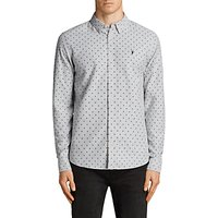 AllSaints Fairfield Spot Print Long Sleeve Shirt, Grey/Black