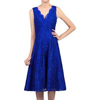 Jolie Moi Scalloped Lace Prom Dress, Royal Blue
