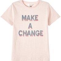 John Lewis & Partners Girls' Make A Change T-Shirt, Pink