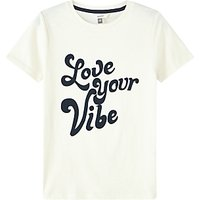 John Lewis & Partners Girls' Love Your Vibe T-Shirt, White