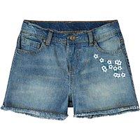 John Lewis Girls Embroidered Denim Shorts, Blue