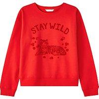 John Lewis Girls' Tiger Sweatshirt, Red
