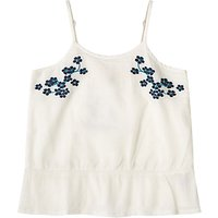 John Lewis Girls' Embroidered Woven Camisole Top, White