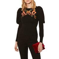 Karen Millen Embroidered Drama Jumper, Black