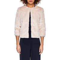Ted Baker Gilleni Cropped Faux Fur Jacket, Pale Pink