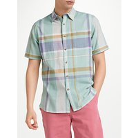 John Lewis & Partners Connell Large Scale Check Short Sleeve Shirt, Green/Blue