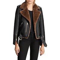 AllSaints Balfern Faux Fur Leather Biker Jacket, Black/Toffee Brown