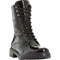 Dune Rayko Lace Up Calf Boots, Black Patent Leather