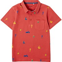 John Lewis Boys' Cactus Motorbike Print Polo Shirt, Red