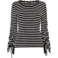 Karen Millen Drawstring Sleeve Jersey Top, Black/White