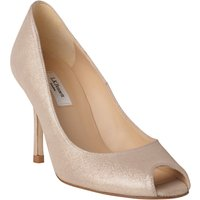 L.K. Bennett Margo Peep Toe Court Shoes, Platinum Gold Suede