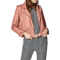 Selected Femme Roxie Leather Jacket, Blush