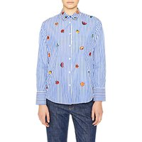 PS Paul Smith Embroidered Kyoto Floral Stripe Shirt, Blue