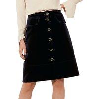 Karen Millen Cotton Velvet Skirt, Navy