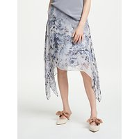 Modern Rarity Mottled Floral Archive Print Skirt, Cornflower