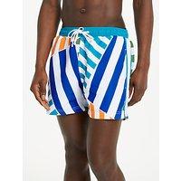 Kin Placement Block Print Swim Shorts, Blue/orange