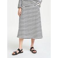 Kin by John Lewis Striped Full Jersey Skirt, Navy/White