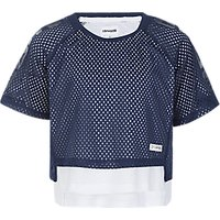 Converse Girls' Double Mesh Layer Raglan Top, Navy