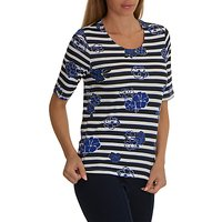 Betty Barclay Floral Stripe Print Top, Dark Blue/Cream