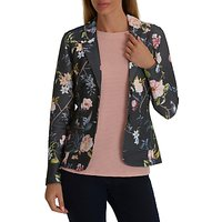 Betty Barclay Textured Floral Print Jacket, Dark Blue/Rose