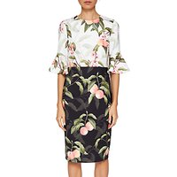 Ted Baker Areea Ruffle Cuffs Peach Blossom Print Dress, Black/White
