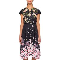 Ted Baker Fredica Peach Blossom Wrap Midi Dress, Black