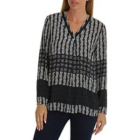 Betty Barclay Graphic Print Blouse, Dark Blue/Cream