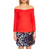 Ted Baker Iryne Bell Sleeved Bardot Top, Bright Red