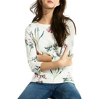 Joules Harbour 3/4 Sleeve Printed Jersey Top, Cream Botanical Print
