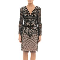 Adrianna Papell Beaded Tulle Overlay Cocktail Dress, Nude/Black