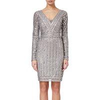 Adrianna Papell Stud Beaded Sheath Dress, Platinum