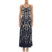 Adrianna Papell Petite Bead and Sequin Embellishment Maxi Dress, Midnight