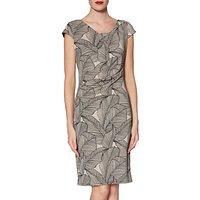 Gina Bacconi Thea Leaf Dress, Beige/Black