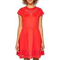 Ted Baker Cheskka Lace and Mesh Detail Skater Dress, Bright Red