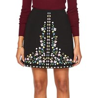 Ted Baker Hampton Embroidered Mini Skirt, Black/Multi