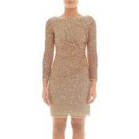 Adrianna Papell Sequin Cowl Back Dress, Champagne Gold