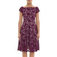 Adrianna Papell Lace Midi Dress Petite, Dark Magenta