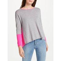 Cocoa Cashmere Colour Block Zip Back Cashmere Jumper, Grey/Pink