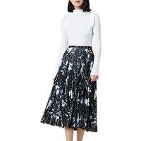 Finery Hobman Pleated Floral Print Skirt, Multi