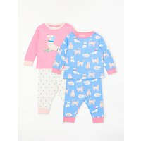 John Lewis & Partners Baby GOTS Organic Cotton Cats & Dogs Pyjamas, Pack of 2, Blue/Pink