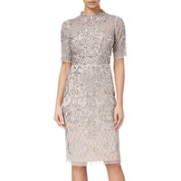 Adrianna Papell Beaded Short Funnel Neck Dress, Silver/Nude